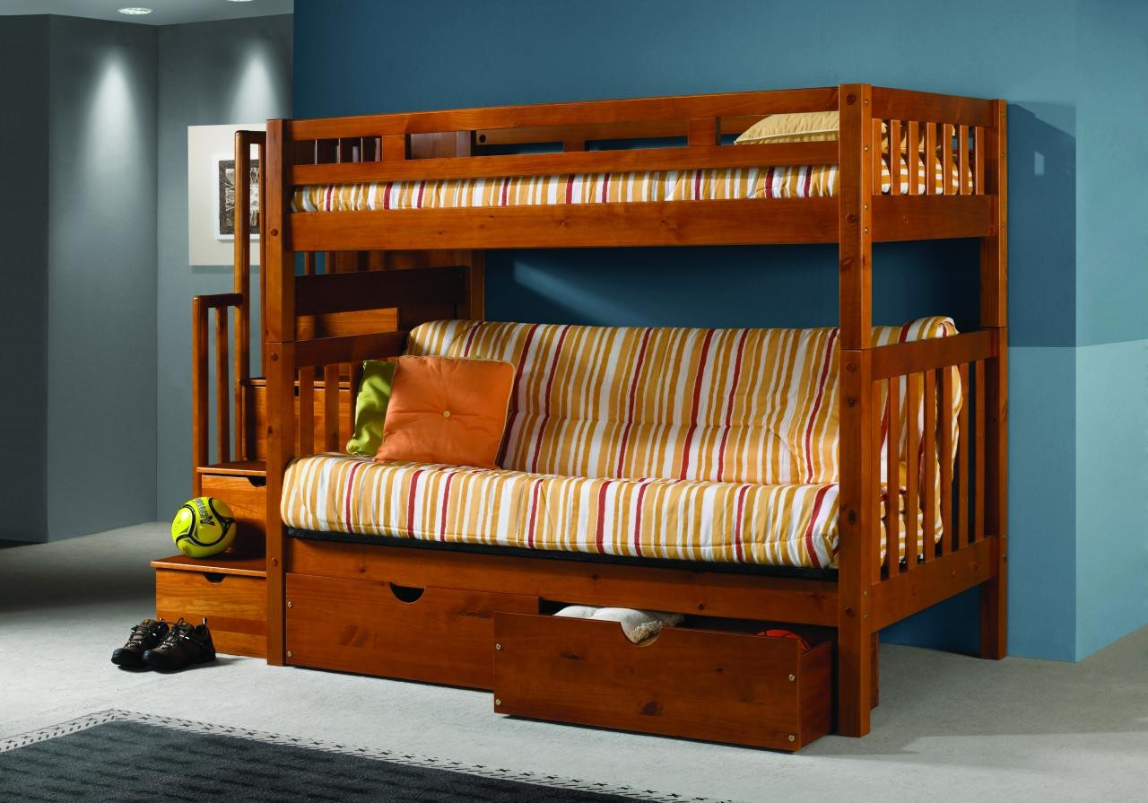Picture of: Solid Wood Staircase Twin Over Futon Bunk Bed W Storage Dream Rooms Furniture
