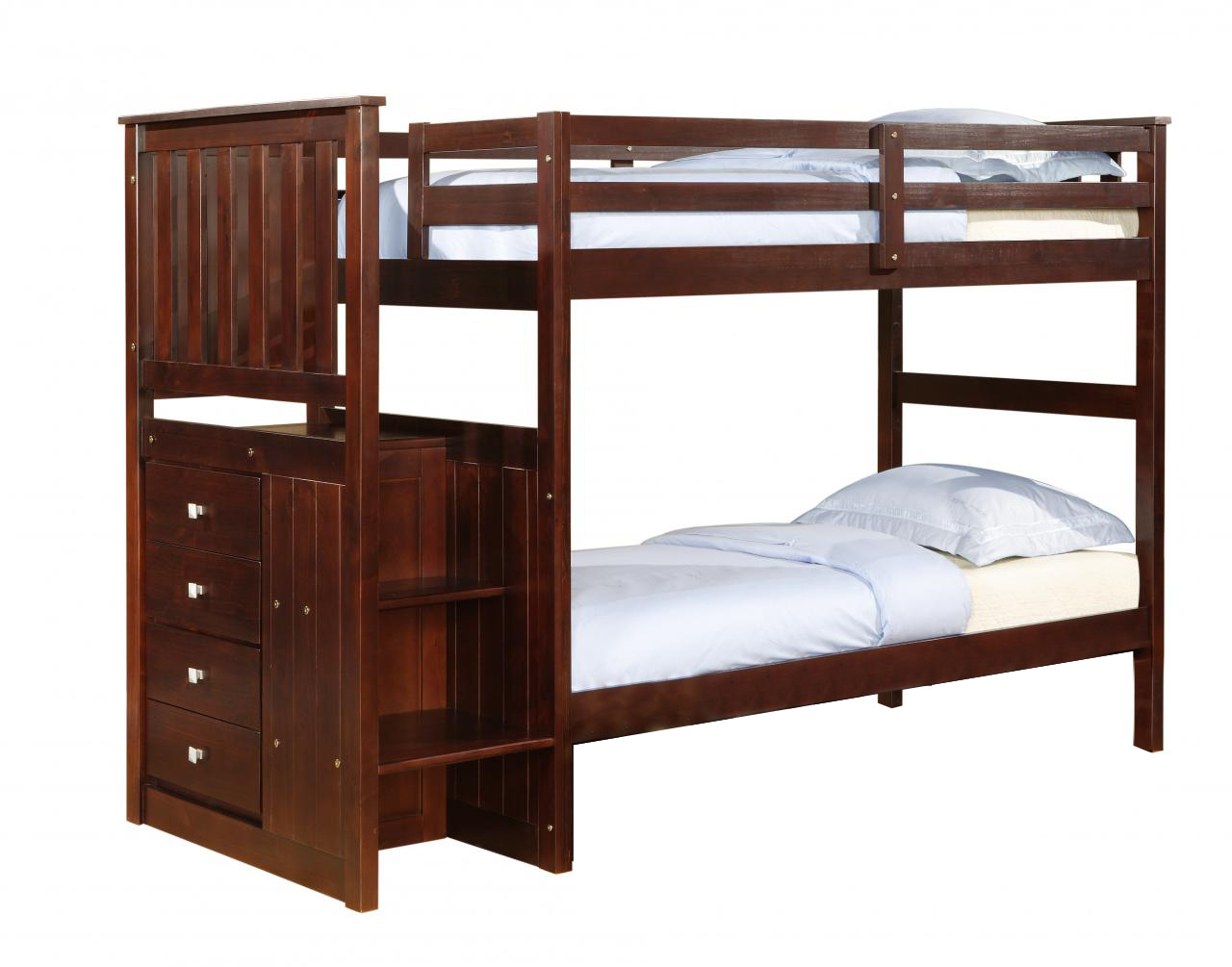 Solid Wood Espresso Staircase Bunk Bed With Storage Dream Rooms Furniture