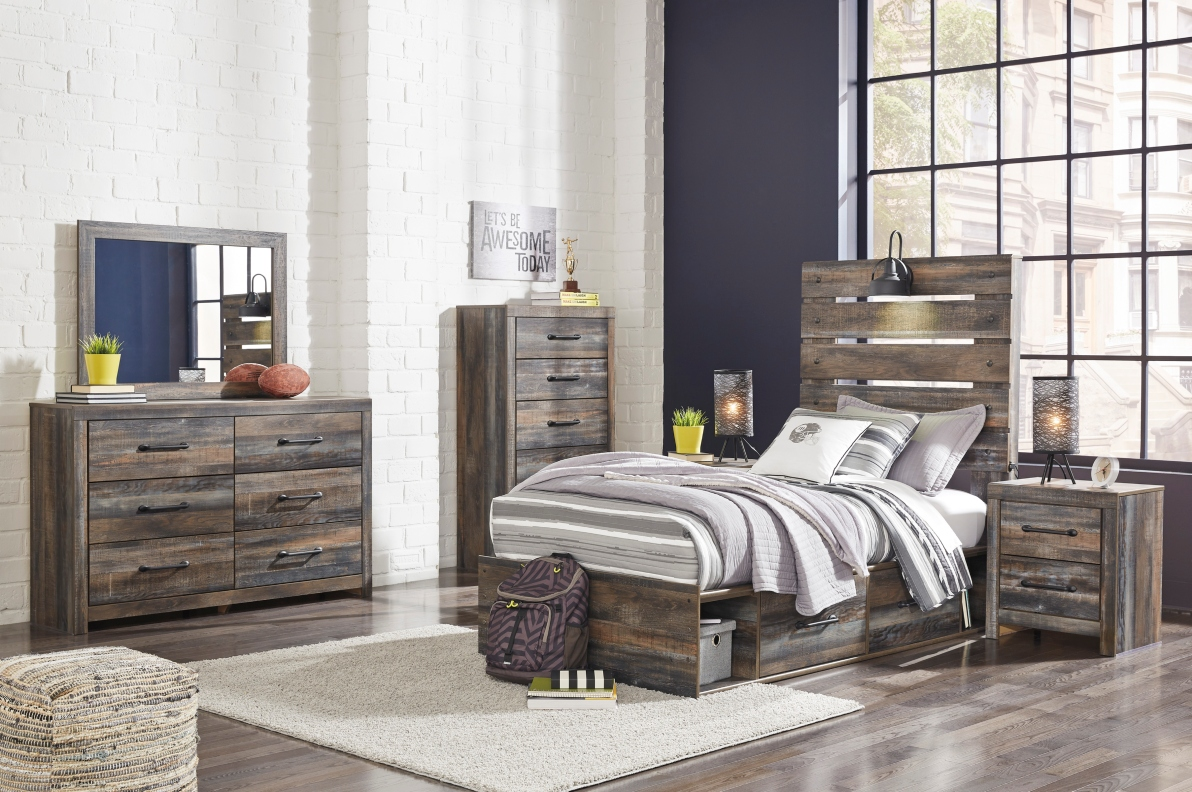 Ashley Drystan Twin Size Bedroom Set Storage Bed Dream Rooms Furniture